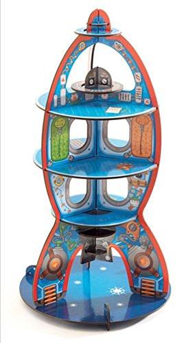 Djeco - Décor à jouer en carton Pop'n'Play - Fusée en route pour l'espace