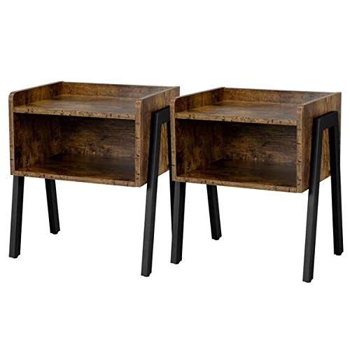 Yaheetech Set of 2 Bedside Table Industrial Nightstand Stackable End Table with Open Front Storage Compartment Retro Rustic Chic Wood Look Accent Furniture with Metal Legs Rustic Brown