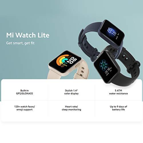 Xiaomi Mi Watch Lite, Smartwatch Fitness Armbanduhr mit 1,4-Zoll-Farbdisplay, integriertem GPS, 50 m Wasserdichtigkeit, Herzfrequenz- und Schlafüberwachung, bis zu 9 Tage Akkulaufzeit