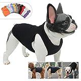 lovelonglong 2019 ropa de verano para mascotas, ropa de perro en blanco, camisetas acanaladas, chalecos de hilo superior para perros grandes, medianos y pequeños, 100% algodón, negro S