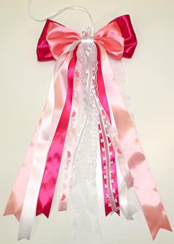 CaPiSo 20 x 40 cm bebé lazo grande listo sin manualidades, lazo de satén lazo de cumpleaños, nacimiento, bautismo, tarta de pañales, lazo doble (fucsia, rosa y blanco)