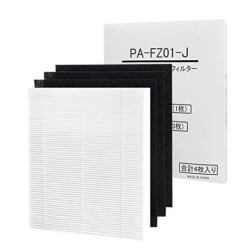 AIOGOO PA-FZ01-J 空気清浄機用交換フィルター HEPA集じんフィルター(1枚)と脱臭フィルター(3枚) PA-ZA06用 (合計4枚入り)