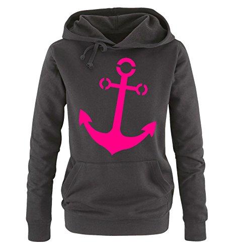 Comedy Shirts - Anker - Damen Hoodie - Schwarz/Pink Gr. M