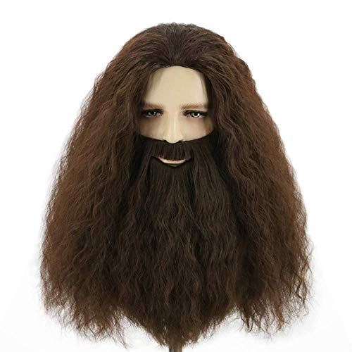 Topcosplay Halloween Cosplay Peluca de Hagrid con Barba Larga Peluca Marrón para Hombres Adultos Peluca de Mago para Disfraz Carnaval