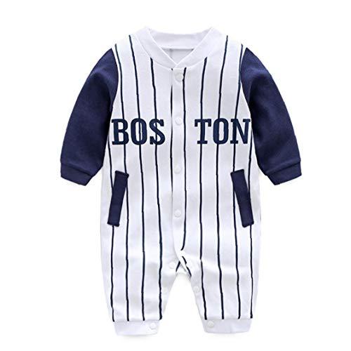 MaylFre Baby-Jumpsuits Baseball-Trikot-Streifen-Muster-baumwollspielanzug-Overall Langarm Onesies Kletteranzug Für Fußlose Schlaf-and-Play 66cm Weiß