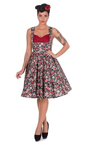 50's Thee Dans Zwart Rood Groen Bloemen Fitted Flared Swing Jurk + Haar Rose 8-24