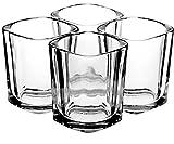 Chupitos Cuadrados de Vidrio Transparente (60ml) – 4 Vasos Cortos y Grandes Para Bar, Casa, o Fiesta – Tome Un Trago de Licor o Espresso Con Las Mejores Copitas – Irrompibles – Un Buen Regalo