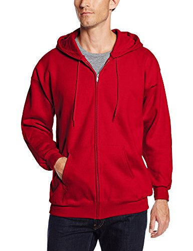 Hanes Men's Full Zip Ultimate Heavyweight Fleece Hoodie, Deep Red, XX-Large