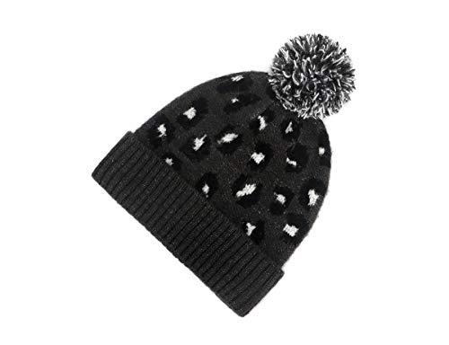 xingxing Bonnets d'hiver pour femme en tricot motif léopard tendance en laine chaude pour l'hiver et l'automne 2020 (couleur : noir, taille : unique)