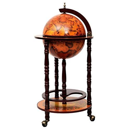 Wood Globe Wine Bar Stand 16th Century Italian Rack Liquor Bottle Shelf 36'