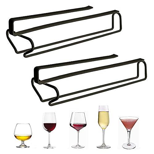 2 Piezas Soporte para Copas de Vino, Soporte para Copas, Estante Colgante para Copas, Soporte de Copas Robustos, para Bar, Vinoteca, Cocina (Negro)