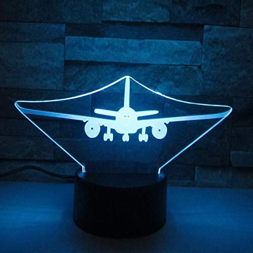 KangYD Acrílico del avión de aire de la luz de la noche 3D, lámpara de la ilusión óptica del LED, C - Touch Crack Blanco (7 colores), Decoración del hogar, Acrílico, Regalo para niña