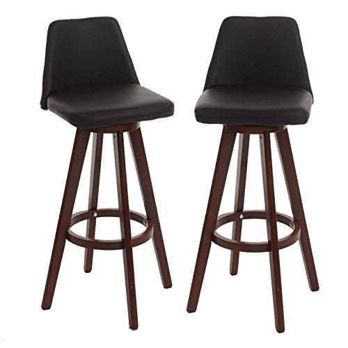Mendler 2X Barhocker HWC-C43, Barstuhl Tresenhocker, Holz Kunstleder drehbar ~ braun, dunkle Beine