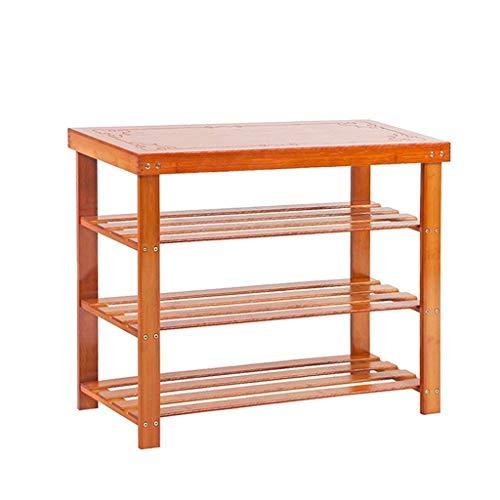 HLL Bamboo Solid Wood Storage Stool Simple Storage Multi-Layer Shoe Rack Bamboo Wear Shoe Bench Shoe Door Door Bench,90x28x62cm,90x28x62cm