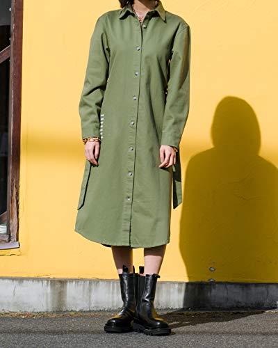 The Drop Sobrecamisa para Mujer, Larga con Cinturón, Verde Oliva, por @imma.gram