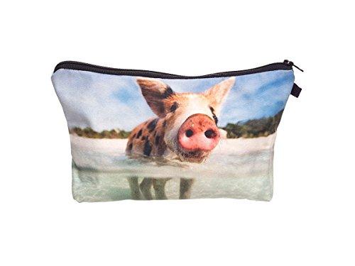 Beauty Case, borsa da viaggio, borsetta da toilette sacco sacchetto bagno per cosmetici trucco make up motivi diversi, Kosmetiktasche KT-002-050:KT-040 maialino