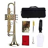 Trompeta Instrumento Musical, Trompeta Laton Professional BB Flat Brass Trumpet Set de Instrumentos Kit de Accesorios para Estudiantes Principiantes Niños(Dorado)