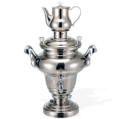 BEEM ROYAL Samowar - 15 l | Edelstahl | Türkischer Teekocher elektrisch | 3000 W | 2L Teekanne mit Sieb Edelstahl | 15 L Wasserkocher | Zapfhahn