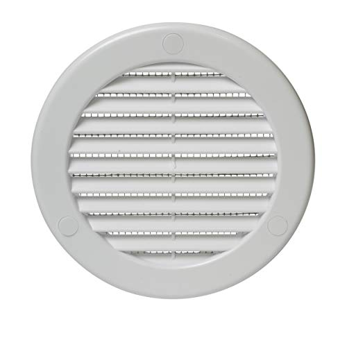 Vent Systems Soffit Vent Cover - Round Air Vent Louver - Grill Cover - Built-in Insect Screen - HVAC Vents for Bathroom, Home Office, Kitchen 4'' Inch White