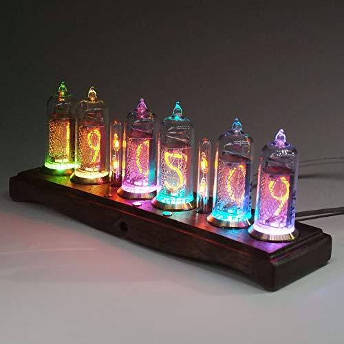 4YANG Reloj de Tubo Nixie, Reloj de Tubo Reloj Digital LED, Bombilla LED de Alta Gama, Panel de Nogal Negro, Reloj de Tubo Luminoso con Ajuste automático de Brillo, Regalo de cumpleaños