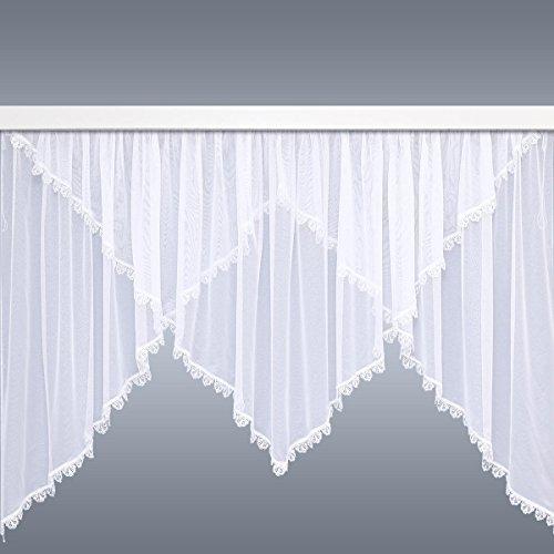 SeGaTeX home fashion Blumenfenster-Store Juliana | Kuvertgardine mit Echter Plauener Spitze und Kräuselband für Gardinenhäkchen Fertigstore