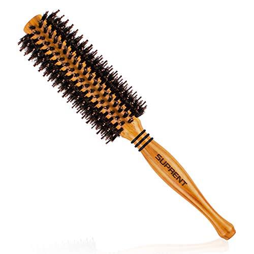 Rundbürste Holz Haarbürste Rund Wildschweinborsten SUPRENT 2 Inches zum föhnen Locken, Rundbürsten Entwirren Naturborsten Antistatisch Rundbürsten friseurbedarf für Langes Haar und Kurzes Haar