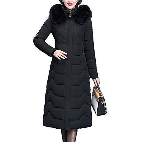 2019 Nueva Chaqueta de plumón para Mujer Abrigo con Capucha de Piel de Invierno Largo Grueso cálido de Gran tamaño Mujer Abrigo abrigado de Talla Grande Parka Ropa Delgada