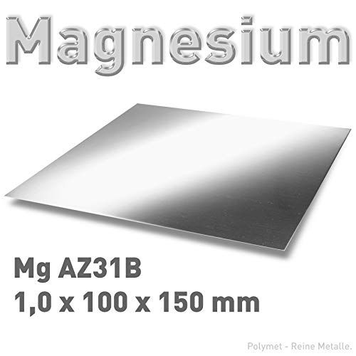 Magnesium-Blech 1,0 x 100 x 150 mm, Magnesiumplatte, Anode/Elektrode (10 x 15 cm), Plattenelektrode