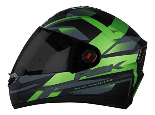 Steelbird SBA-1 R2K Full Face Graphics Helmet in Matt Finish with Smoke Visor (Large 600 MM, Matt Black with Green)