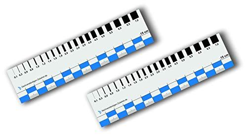 Sachverständigen-Zubehör 2er Set Rissbreitenlineal FLEXIBEL | 15 cm | Dokumentationshilfe | praktisches Risslineal | Karte Fotodokumentation | Wertgutachten | Lineal für Kfz Wertermittler | Gutachter