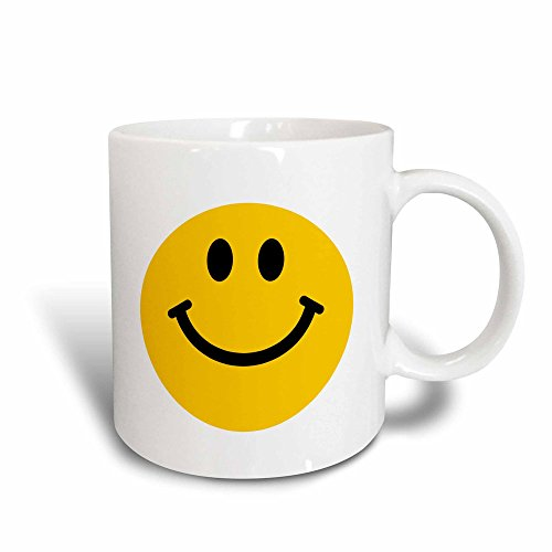 3dRose mug_76653_3'Yellow Smiley Face - Cute Traditional Happy Smilie - 1960s Hippie style - Smiling on white' Magic Transforming Mug, 11 oz, Multicolor