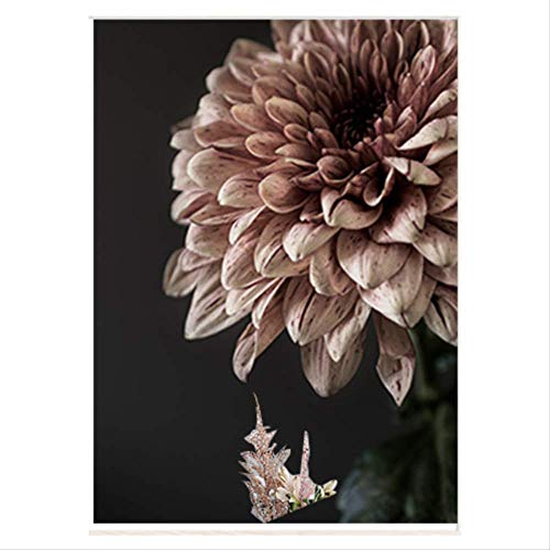 Moderne rosa Dahlie Blumen Leinwandbilder Druck Poster Galerie Wandkunst Bilder Innen Schlafzimmer Wohnzimmer Wohnkultur 50X70cm No Framed