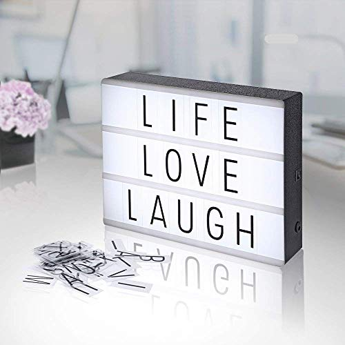 AGM Boîte Lumineuse Lightbox Lettres et Symboles Boîte à Lumière LED Format A4 à Piles pour Décorer Anniversaire / Mariage / Famille / Boutique / Chambre
