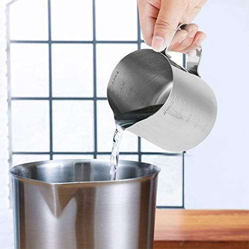 Jarra de leche, espumador manual de acero inoxidable de 350 ml, taza de espumador de leche de café con marca de medición, espresso barista cappuccino