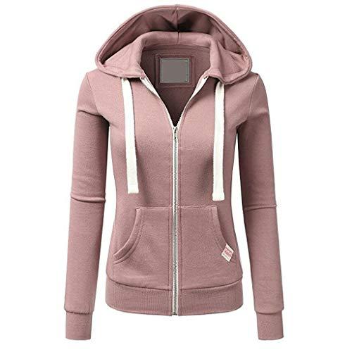 BOLANQ Damen Sweatjacke mit Kapuze hochwertig verarbeitet - kuschelig & Warmer Pullover(Small,B-Rosa)