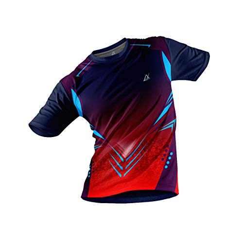 JJ TEES Polyester Half Sleeve Jersey with Round Collar and Digital Print All Over for Men (Size:M) (Color: Multicolor and Navy Blue)
