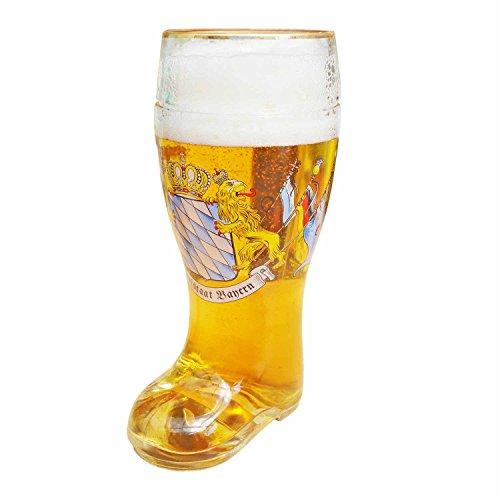 Geschenkbox XXL Bierglas in Stiefel-Form Maßkrug Bierstiefel mit Goldrand Freistaat Bayern mit Löwen und Fahnen 1l