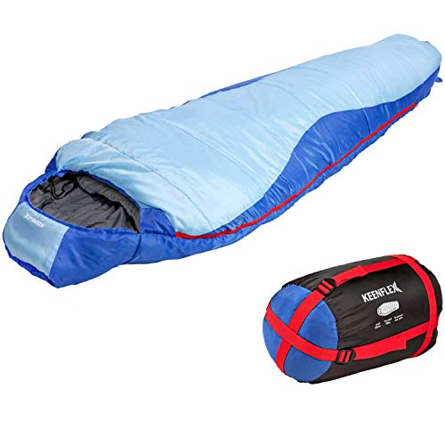 KeenFlex Mummy Sleeping Bag 3-4 Season Extra Warm & Lightweight Compact Waterproof Advanced Heat...