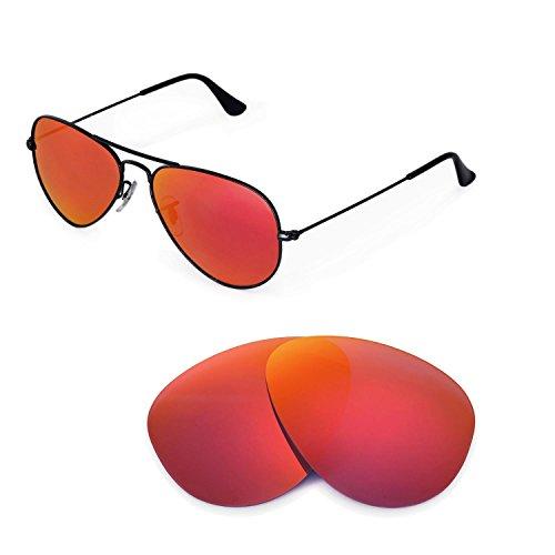 Walleva Ersatzgläser für Ray-Ban Aviator RB3044 Small Metal 52mm Sonnenbrille - Mehrfache Optionen (Feuerrot Mirror Coated - Polarisiert)