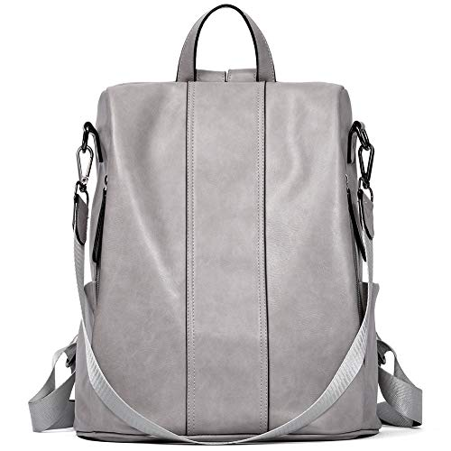 BROMEN Women Backpack Purse Leather Anti-theft Backpack Fashion Travel Daypack Shoulder Handbag Grey