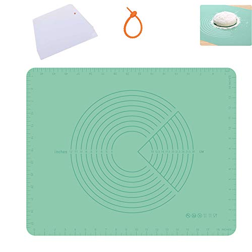 NASNAIOLL Double Thickness Baking Mats with Measurements,Silicone Pastry Mat,Rolling Dough Mat,Fondant Mat,Counter Mat for Kitchen 19.7x15.7in Green