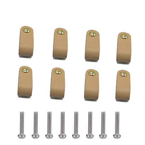 8-Piezas Manijas de Cuero Para Muebles, Tiradores de Cuero, Tiradores de Cajón de Cuero Manija Del Gabinete, Con tornillos, Fácil de Instalar, Adecuada Para Todo Tipo de Puertas y Cajones De Gabinete