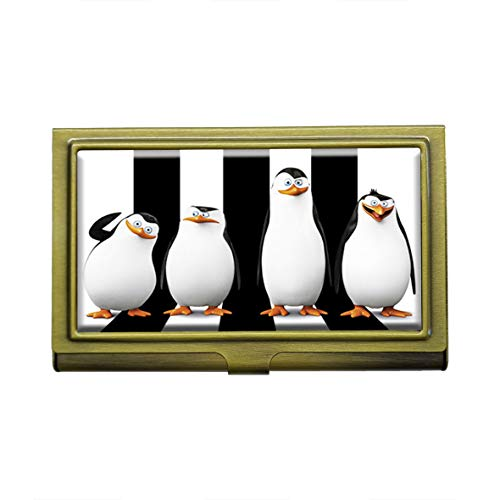 Visitenkartenhalter, Motiv: Pinguine von Madagascar, Metall, Bronze, Edelstahl, Visitenkarten, Ausweishalter