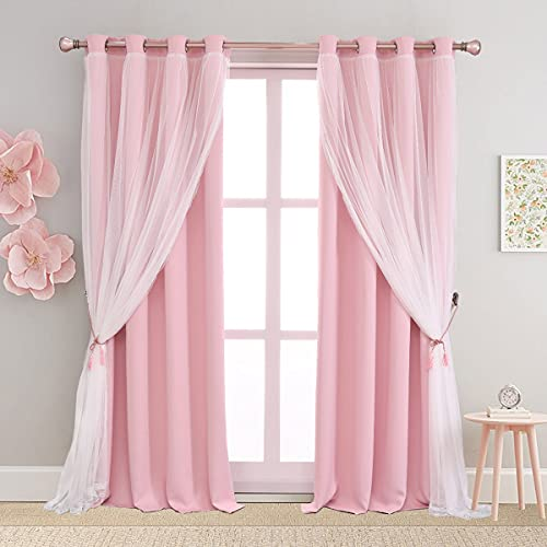 SOFJAGETQ Pink Curtains 84 inch Length - Double Layers Blackout and Sheer with Lace Hem Window Curtains & Draperies Panels for Kids/ Girls Bedroom Living Room Nursery, Lght Pink, 2 PCs