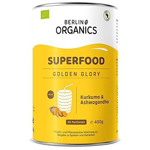 Golden Glory - Bio Superfood Pulvermischung - Berlin Organics - Golden Milk & Golden Latte Pulver - Entspannung mit Ashwagandha