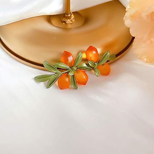 GUTN Pendientes Colgantes Colgantes, Pendientes de Broche de Cristal Naranja de Bosque de Plantas de jardín para Mujeres y niñas, joyería de Moda(Brooch)