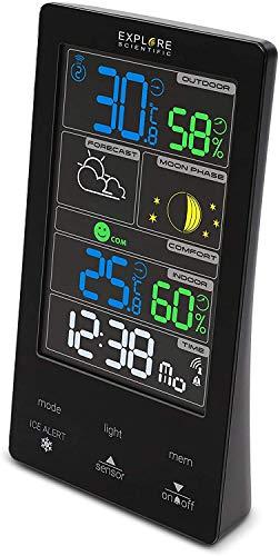 EXPLORE SCIENTIFIC WSC4009GYE000 Stazione meteo con display touch a colori, previsioni del tempo, dual alarm, fasi lunari, bianco