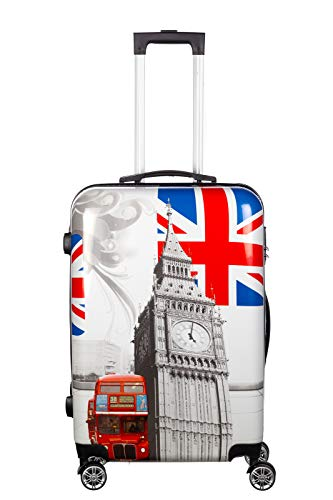 Birendy Reisekoffer Polycarbonat Hartschalen Hardcase Trolley mit Zahlenschloss Koffer Kofferset 4 Rollen einfacher Transport (29-England, Koffer XL 65x45cm)