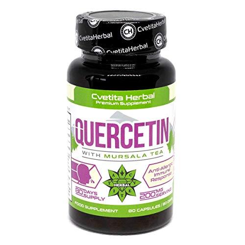 Quercetina al tè di Mursala | 80 capsule vegetariana x 200 mg (80 giorni di fornitura) | Estratto di Sophora Japonica | Sistema cardiovascolare sano | Prodotto antiallergico di Cvetita Herbal (1)