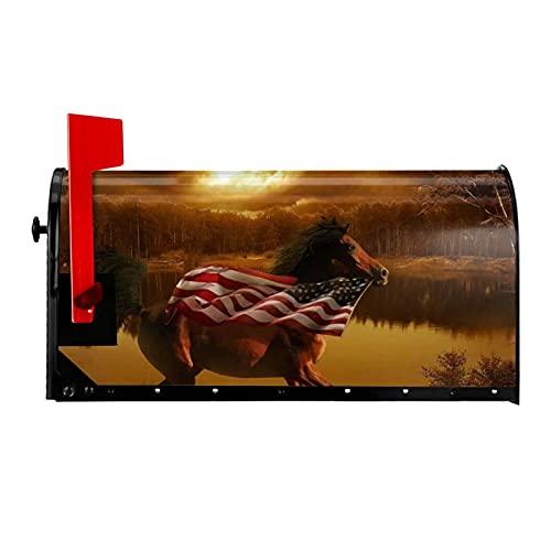Correr caballos y banderas americanas cubierta de buzón magnético para buzón de correo, cubierta para decoración de jardín, tamaño estándar al aire libre, 53 x 45 cm